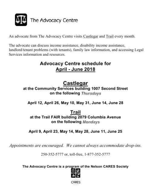 An advocate from The Advocacy Centre visits Castlegar and Trail every month.pdf_page_1