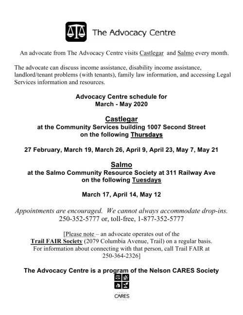 2020 Advocacy Centre Castlegar Salmo schedule March to May.pdf_page_1